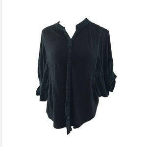 Free People Dolman Sleeve Button Up Shirt Black
